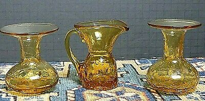 3 Pieces Vintage MCM Blenko Amberina Crackle Glass Small Pitcher/Mushroom Vases