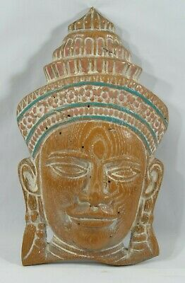Beautiful Vintage '60'S Hand Craved Wooden Buddhist Mask Wall Decor From India