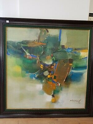 Vintage Signed Framed Abstract Lines Oil on Canvas Colorful Piece