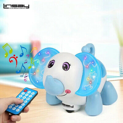 Baby Kids Smart Toy Elephant Led Light Blue Walking Function Learning Song
