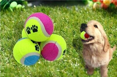 10 x AQS Tennis Balls Paw Printed For Pets Puppy Play Dogs Toys Bouncing Ball
