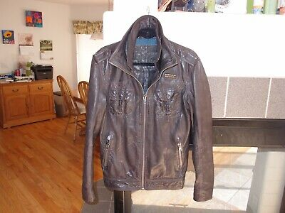 e856a5ce9 MENS SUPERDRY BRAD Dark Brown Leather Jacket Size S-M Mint - $159.00 ...