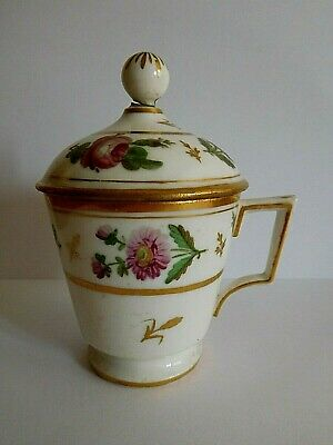 Antique Paris Porcelain Custard Cup And Cover By E Blacheron In Sevres Style
