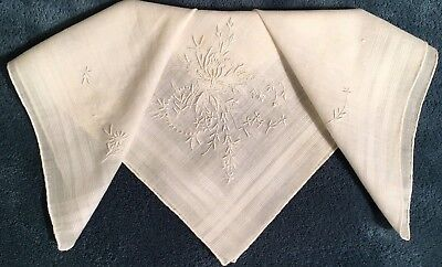 "Vintage Off- White Bridal Madeira Linen Wedding Hankie - 12"" x 12"""