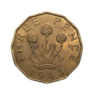 KM# 849 - Three Pence - George VI - Great Britain 1943 (EF)