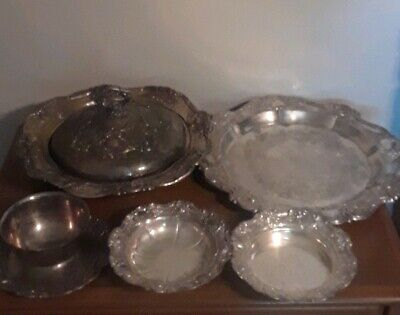 """Vintage Estate Lot 5 Piece Towle """" Old Master"""" Silverplate Bowls & Tray"""