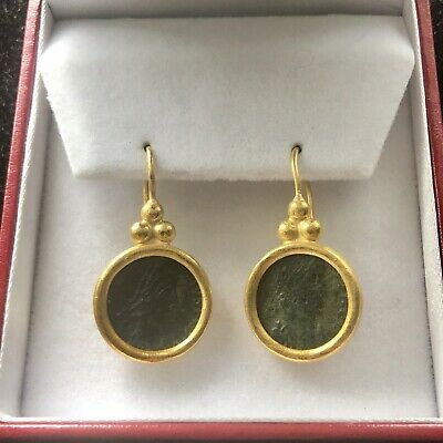GURHAN ?   Ancient Roman coin earrings in 24k gold