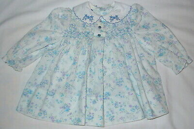 5258c8cca Vintage Polly Flinders l/s DRESS Size 12 mos Thin Blue Floral Fabric w/