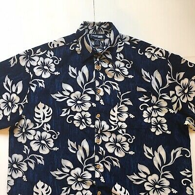 d0551bc4c Mens Sz XL Hawaiian Aloha Short Sleeve Button Front Luau Shirt Extreme Gear