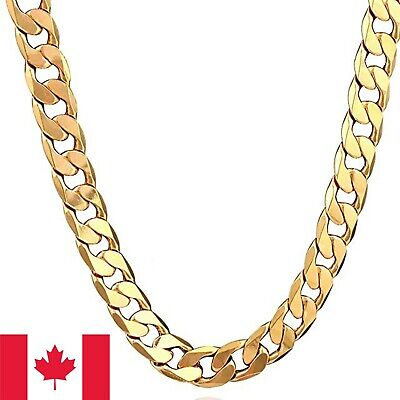 18K Gold Plated Cuban Link Necklace Chain Men Hiphop Yellow