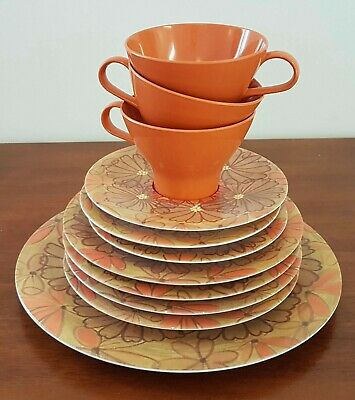 Bulk Lot Vintage 70s NYLEX BESSEMER Australia ORANGE Floral Assorted PLATES CUPS