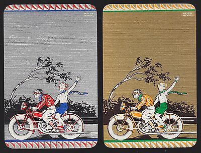 2 Single VINTAGE Swap/Playing Cards DECO MOTOR CYCLE COUPLE Artist McKIE Gold