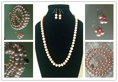 """New 9mm Genuine Pearl  Necklace Earing Set  22""""  Pink"""