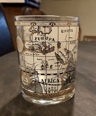 Vintage Cera Old World Nautical Map Gold Glass 4 1/8""
