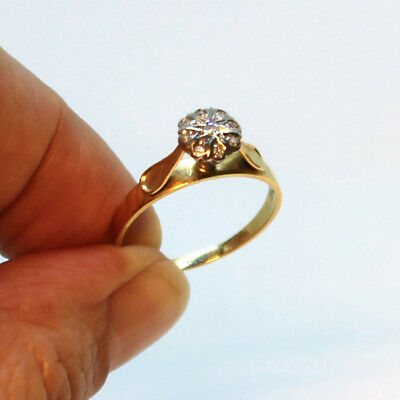 Diamond Floral Cluster 18ct Yellow Gold Ring size P