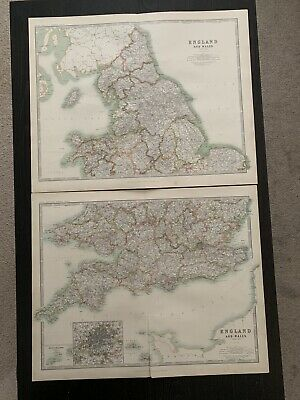 1912 England & Wales Large Antique Coloured Map By Johnston