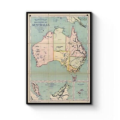 Vintage Map of Australia Detailed Old Classic Art Print Poster: A4 - B1 Framed
