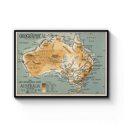Vintage Map of Australia Detailed Classic Old Art Print Poster: A4 - B1 Framed