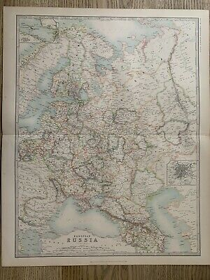 1912 Russia In Europe Large Antique Coloured Map By Johnston
