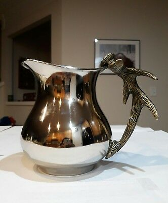 "VINTAGE Silver Water Pitcher with brass antler handle 9"" x 5"" x 7"" VERY RARE"