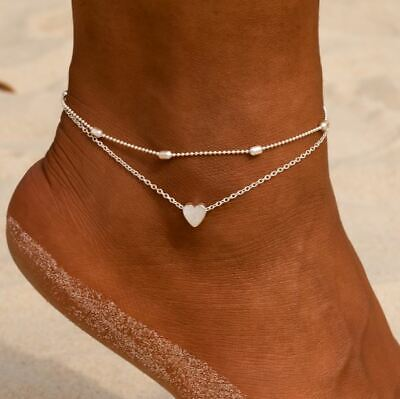 Silver or Gold tone Layered Heart Anklet