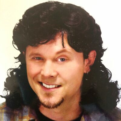 Adults's Mullet Wig Bogan Black Hair Mullet 70s 80s Party Costume Dress Up