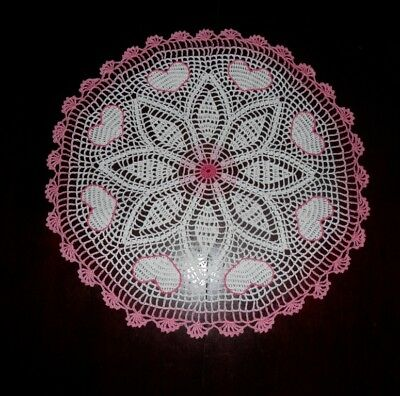 """Stunner Handmade Crochet Lace Doily """"HEARTS"""", Multi-Color, Round, 20.5"""", Cotton"""