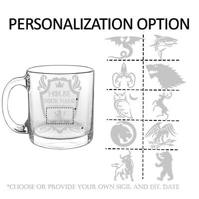 Game Of Thrones Inspired Personalized House Coffee Mug Glass