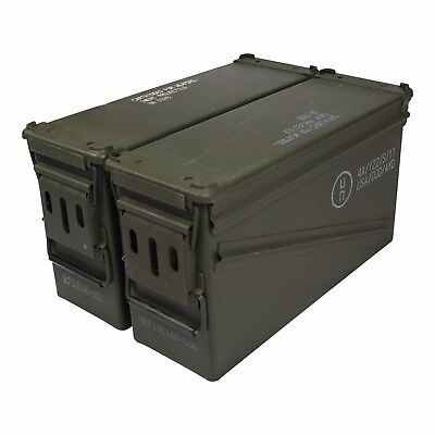 2 Pack USGI PA120 40mm Ammo Cans Ammunition Box MK19 Surplus Storage Container