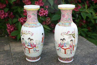 2pcs Chinese Porcelain Hand Painted Ladies in Garden Picture Writing Vase -Marks