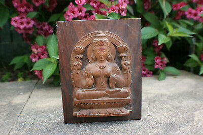Oriental Chinese Wooden Carved Buddha Wall Hanging Panel