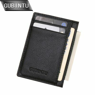 Gubintu Genuine Leather Men Slim Front Pocket Card Case Credit Super Thin Fashio