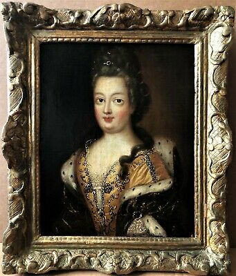 Exquisite 1700 Oil On Canvas Portrait Painting Of A Young French Lady