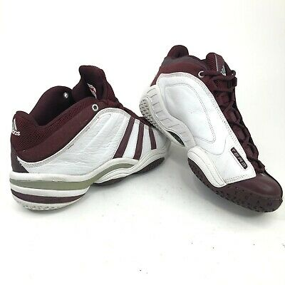 0ef488b4 Adidas 672460 Mens 10.5 Mid Top Basketball Shoes White Burgundy Red 2001 New