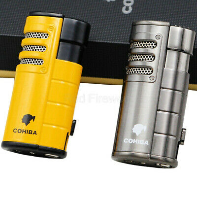 COHIBA Windproof Cigar Cigarette Metal Lighter 3 Torch Jet Flame W/Punch And Box