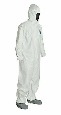 DuPont TY122S Disposable Elastic Wrist Bootie & Hood White Tyvek Coverall 1 Suit