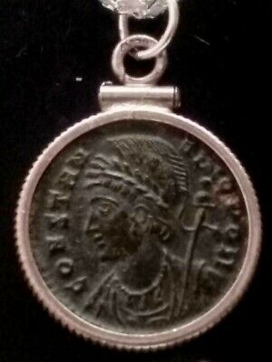 Constantine Authentic Ancient Roman Coin Constantinople/Victory Sterling Pendant