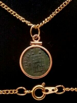 Theodosius CampGate Authentic Ancient Roman Coin 12Kt Gold-Filled Bezel Pendant