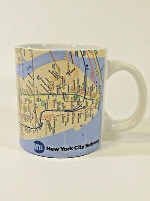 Rare Coffee Tea Latte Mug Cup VTG New York Subway NYC Map MTA Collectible HTF NY