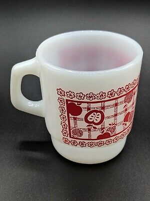 Vintage Anchor Hocking Fire King Milk Glass Red Apples & Floral Coffee Mug Cup