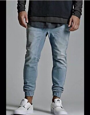 6a0210b89 Pacsun Large Jean Joggers Light Wash Men Stretch Soft Drawstring