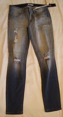 bc0f010d87f5f6 NWT YMI Junior's Size 7 Super Soft Distressed Deconstructed Luxe Jeans Denim