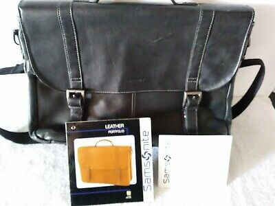 Samsonite Black Leather Faux Double Buckle Clip Portfolio business executive