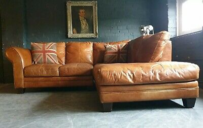 9000.Chesterfield Leather Vintage 3 Seater Corner Sofa Tan DELIVERY AVAILABLE **