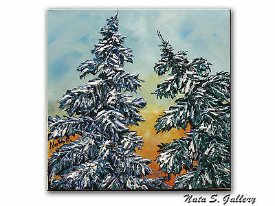 Textured Pine Tree Painting Original Abstract Acrylic Art Palette Knife - Nata S
