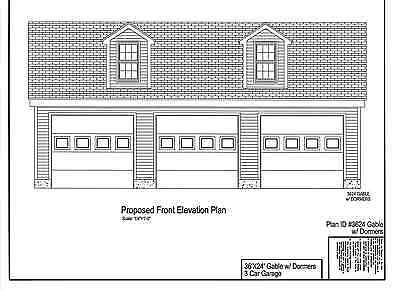 36'x24'- 3 CAR GARAGE PLANS/PRINTS - GABLE ROOF with DORMERS # 17-2436GBLDORM