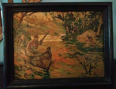 Vintage Moose Hunting Ducks Canoe Hunters Gun Paint By Number PBN Framed Art