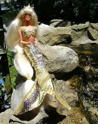 Jewel Hair Mermaid Barbie~Mattel Doll 14586~Complete Gold Outfit~Shoes~Comb~1995
