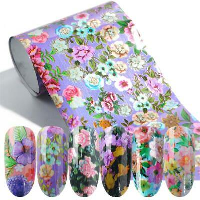 Print Lace Flower Holographic Decals Nail Art Stickers Nail Foil Manicure Decor