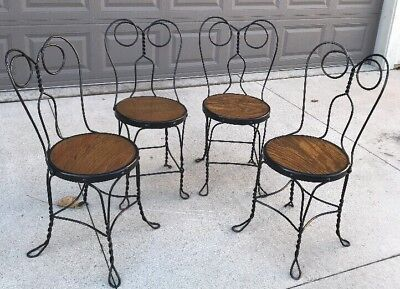 Vintage Ice Cream Parlor Chairs W/Wrought Iron Twisted Metal Wood Milwaukee Area